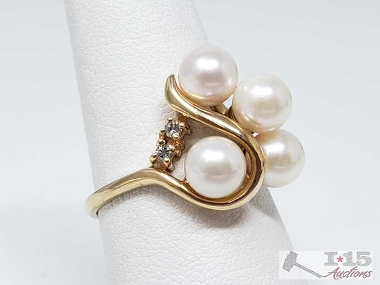 14k Gold Ring with Pearls and Diamonds, 4.5g