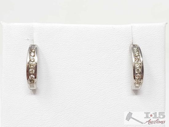 Pair of 14k White Gold Diamond Earrings, 2.1g