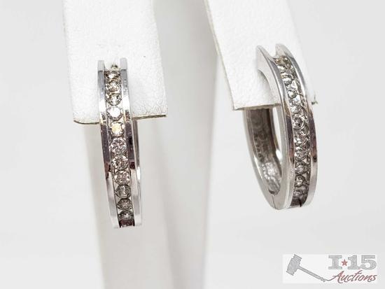 14k White Gold Diamond Earrings, 5.6g