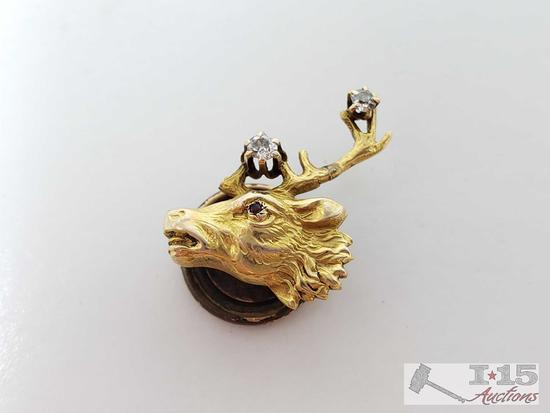 14k Gold Pendent with Two Diamonds, 1.6g