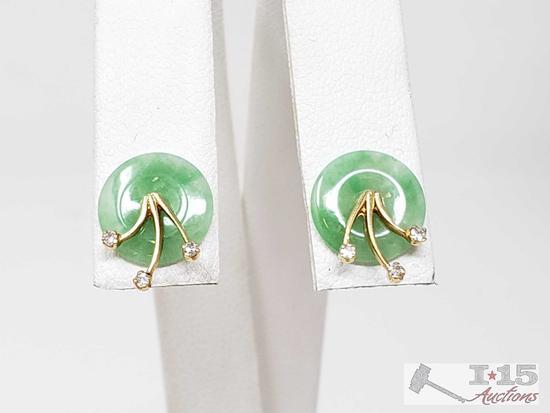 14k Gold Diamond Earrings, .6g