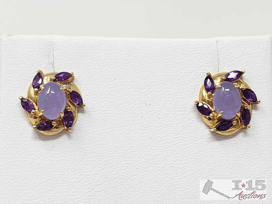 14k Gold Earrings with Amethyst and Lavender Jade, 2.8g