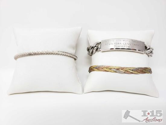 Three Sterling Silver Bracelets, 50.2g