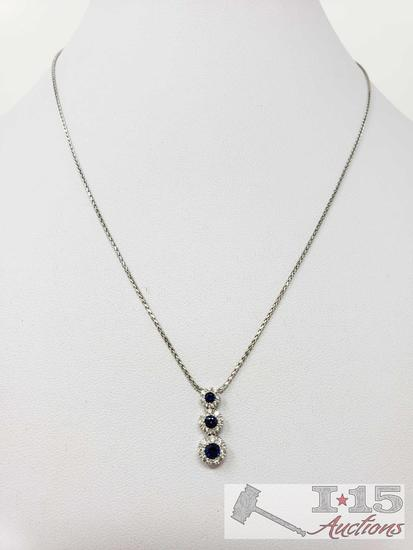14k White Gold Necklace with Diamond Pendent, 3.7g