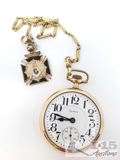 10k Gold B.W. Raymond Elgin Pocket Watch, 101.7g