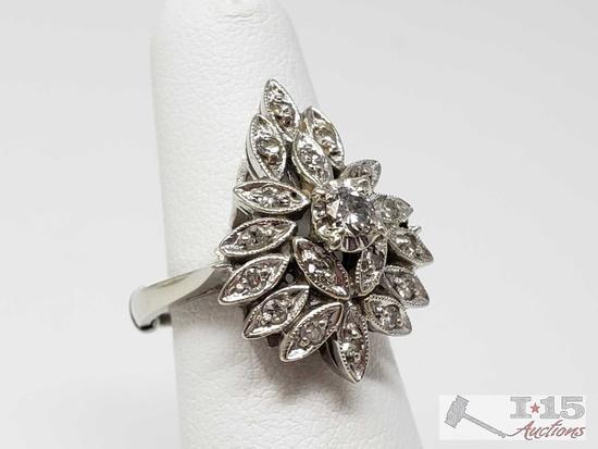 14k White Gold Diamond Ring, 6.2g