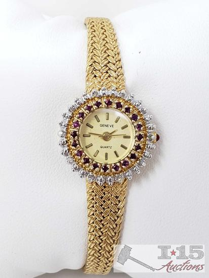 Geneve Watch with Rubies and Diamonds Around Face