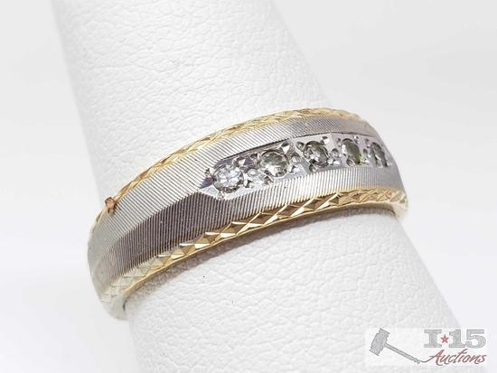 14k Gold Men's Band with Diamonds, 5.8g