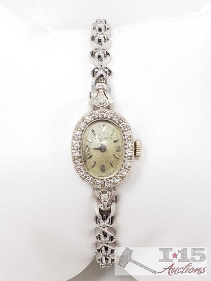 14k White Gold Longines Vintage Watch With Diamonds, 18.4g