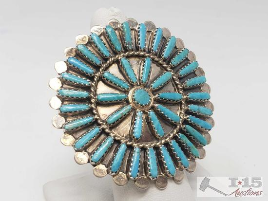 BYJoe Vintage Turquoise Cluster Large Face Sterling Ring, 14.5g Sterling Silver and Signed by Artist