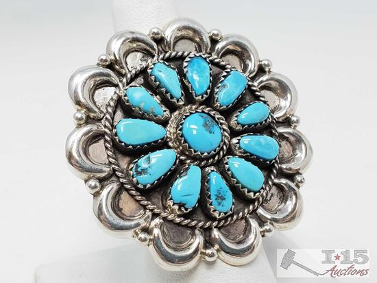 Turquoise Cluster Sterling Silver Ring, 14.9g Signed by JwW and Marked Sterling