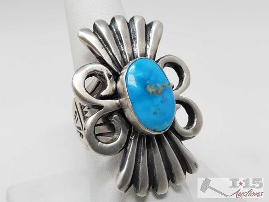 Leroy James Sterling Silver Turquoise Ring, 19.2g