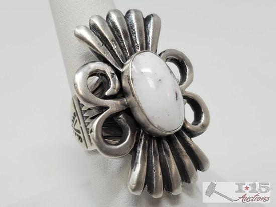 Leroy James Sterling Silver White Buffalo Ring, 19.2g