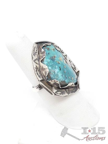 Sterling Silver Chunky Ring Turquoise Ring, 11.7 grams