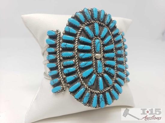 Large Vintage Block Turquoise Cluster Sterling Bracelet, 33.5g