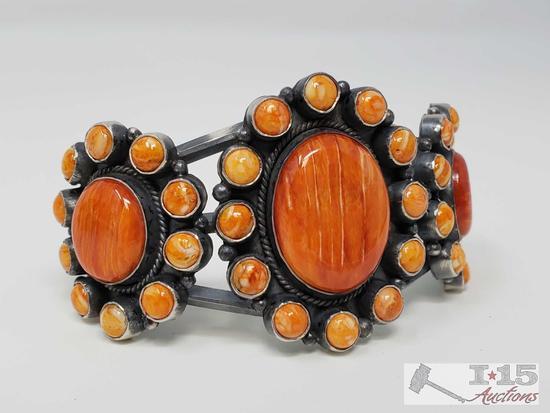 Native American Sterling Silver Navajo Handmade Spiny Oyster Cuff Bracelet, 43.5g