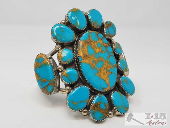 Arrow Marked Rare Large Sterling Silver Cuff Bracelet w/Large Brilliant Cluster Turquoise Stones.