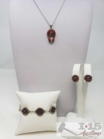 Sterling Silver Coral Necklace, Bracelet and Earring Set