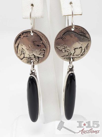 Buffalo Nickel and Black Onyx Earrings by Elle Curley-Jackson