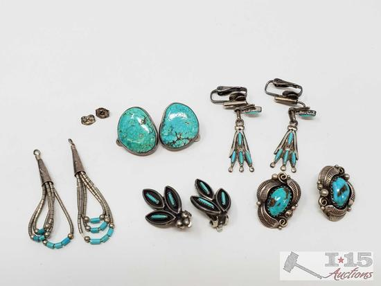 Five Pairs of Sterling Silver Turquoise Earrings, 26.5g