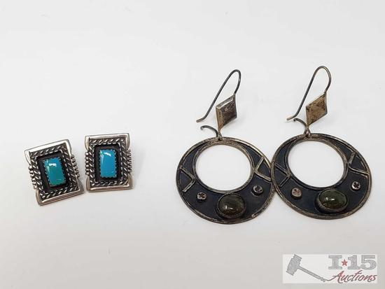 Two Pairs of Sterling Silver Earrings, 17g