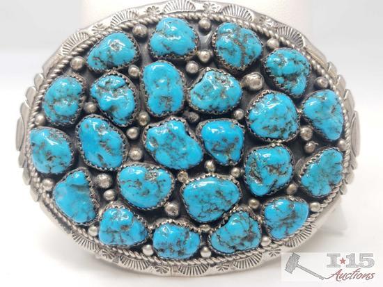 Marlene Jones Old Pawn Turquoise Cluster Nugget Sterling Belt Buckle, 64.2g