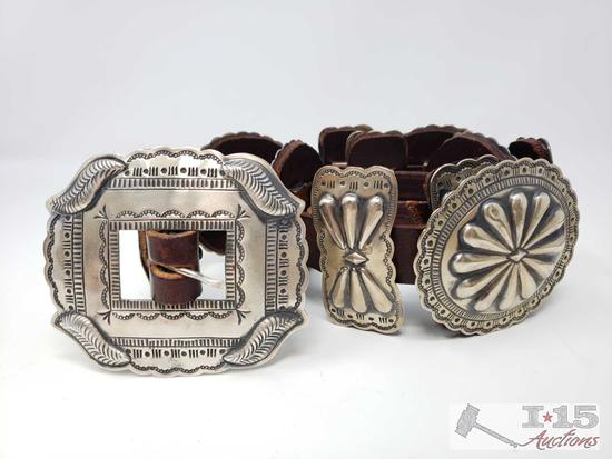 Rare Authentic G. Yazzie Navajo Sterling Silver Concho Belt, 685.4g Conchos are Large and Amazing