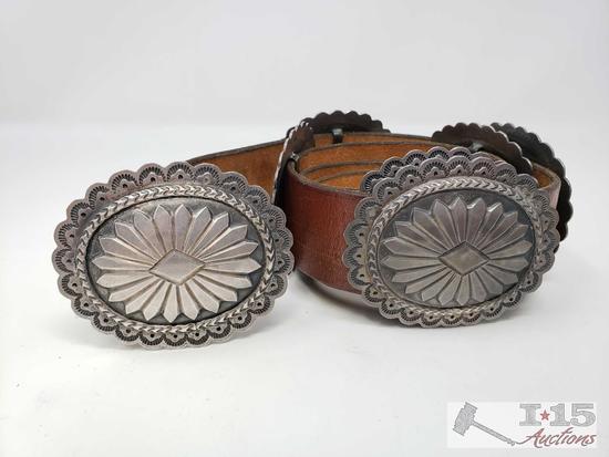 Artist Marked Sterling Silver Concho Belt, 570.8g