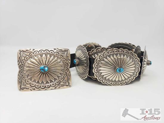 Authentic Tim Guerro Vintage Turquoise Heavy Stamp Sterling Concho Belt, 314.4g