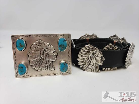 Sterling Silver and Turquoise Chief Concho Belt, 294.6g