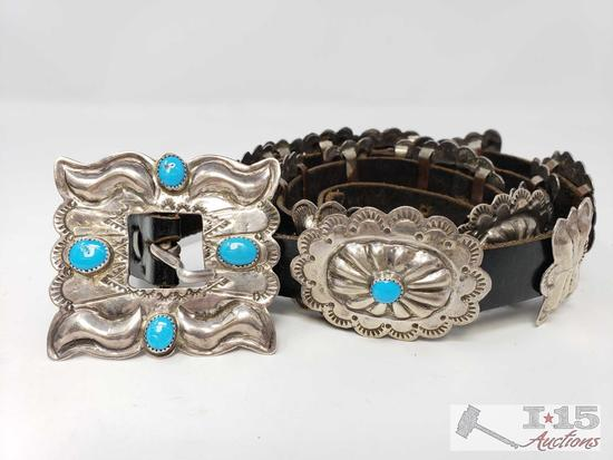 Vintage Old Pawn Native American Sterling Silver Turquoise Concho Belt, 206.3g