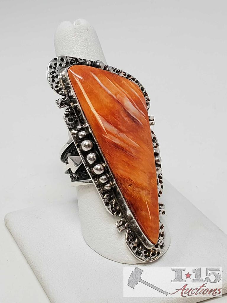 Russel Sam Navajo Long Sterling Spiny Oyster Ring, 24.9g