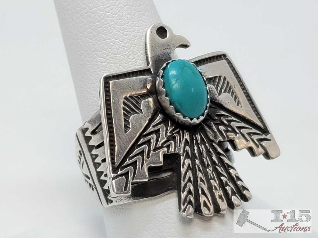 Native American Sterling Silver and Thunderbird Authentic Turquoise Ring, 11.8g