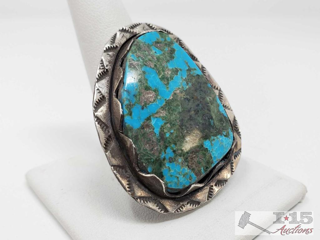 Chunky Sterling Silver Turquoise Ring, 16.7g