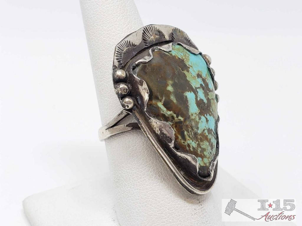 Chunky Sterling Silver Turquoise Ring, 12.3 grams
