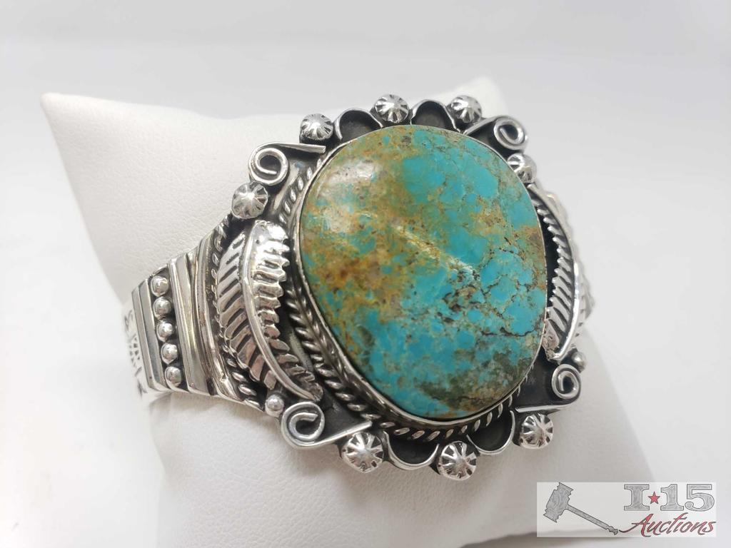 Marcella James Vintage Turquoise Mixed Media Sterling Bracelet, 55.7g