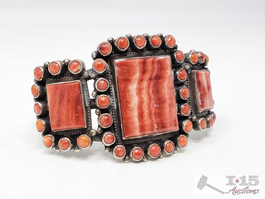 Unique Native American Sterling Silver Navajo Handmade Spiny Oyster Cuff Bracelet,