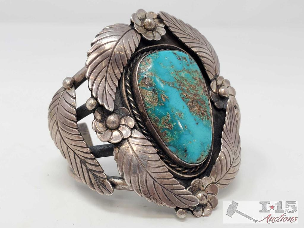 One of a Kind Rare Large Sterling silver Cuff Bracelet with large Turquoise Stone Marked By Artist