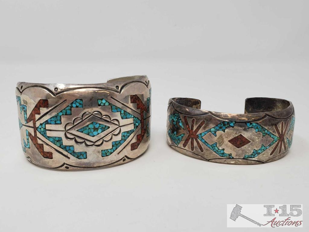 Two Southwestern Silver Chip Inlay Bracelet Signed and Marked by Artist set in Sterling Silver
