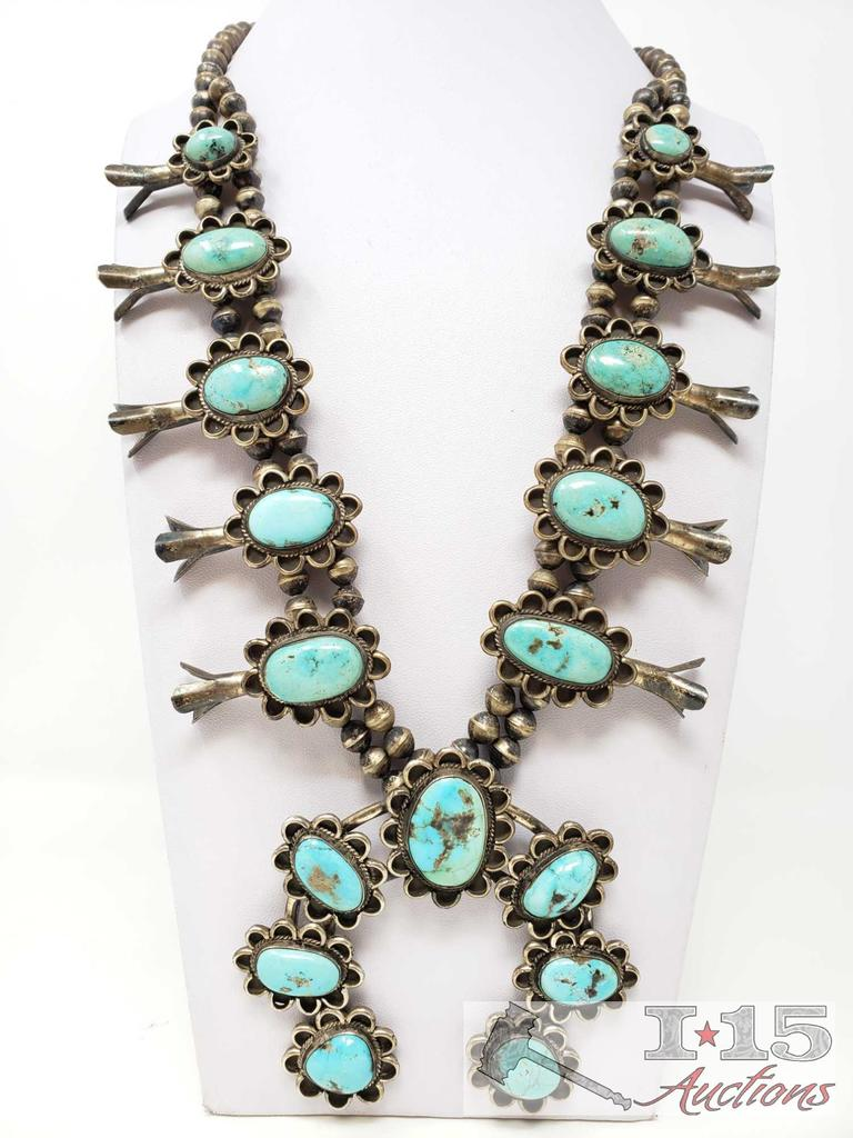 Huge Vintage Sterling Silver Turquoise Squash Blossom W/ Beautiful Large Turquoise Stones, 201.1g