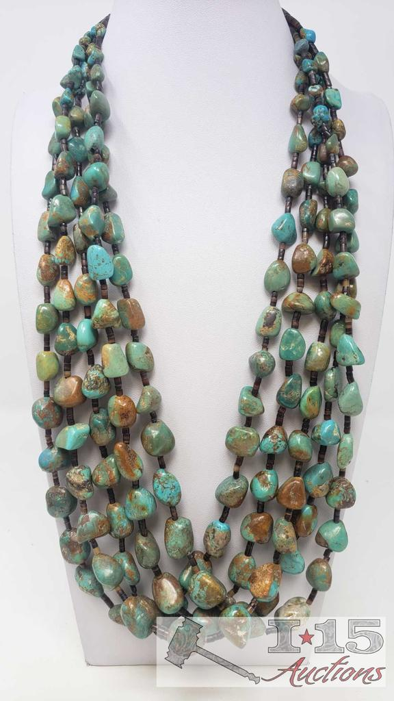 Vintage Turquoise Nugget & Heishe Multi Strand Necklace