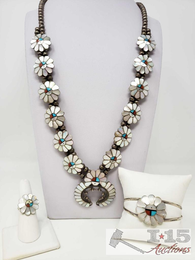 A. Gasper INTRICATE!! VINTAGE ZUNI TURQUOISE CORAL STERLING SILVER SQUASH BLOSSOM NECKLACE SET