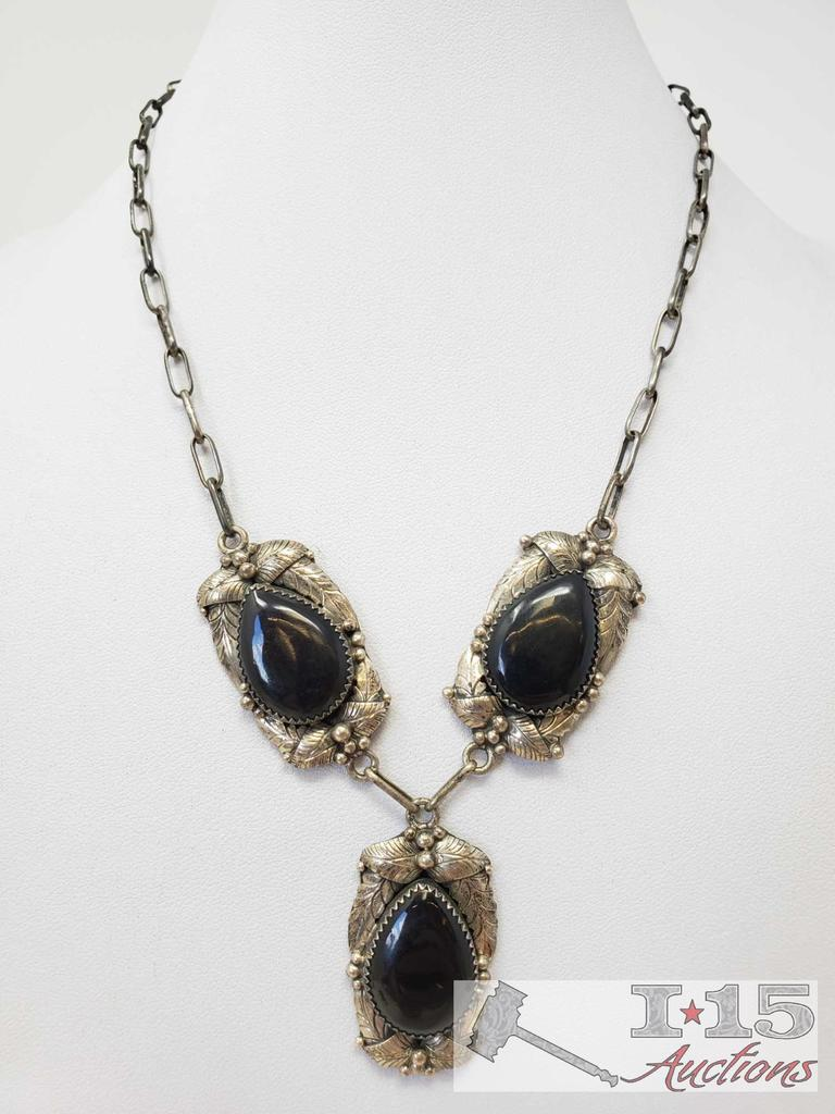 Signed and Marked by Artist Vintage Sterling Silver Necklace with Black Onyx Stones , 31.4g