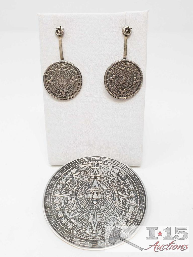 Sterling Silver Earrings and Pin, 33.4g