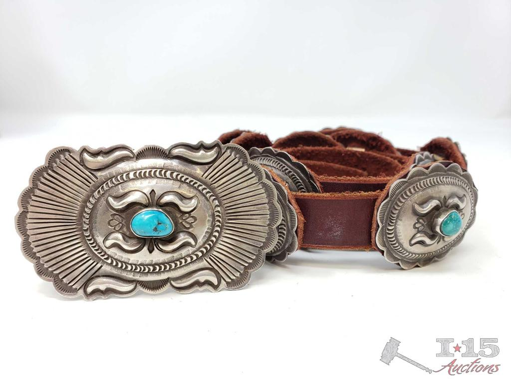 IMPORTANT VINTAGE NAVAJO GENE CHARLEY TURQUOISE STERLING SILVER CONCHO BELT OLD
