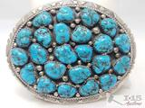 Marlene Jones Old Pawn Turquoise Cluster Nugget Sterling Belt Buckle, 64.2g