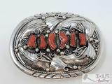 Sterling Silver Coral Belt Buckle, 101.8g
