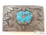 Sterling Silver Turquoise Belt Buckle, 54.3 grams