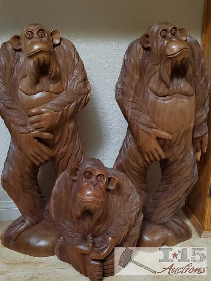 Three Hand Carved Wooden Ape Statues