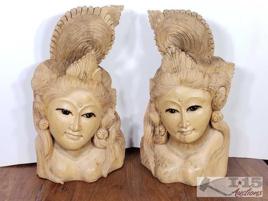 Hand Carved Wooden Balinese Dancers